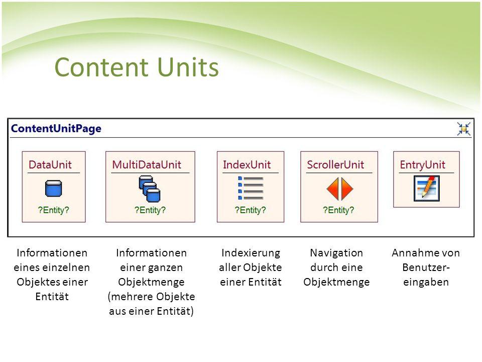 Content Units Informationen eines einzelnen Objektes einer Entität Informationen einer ganzen Objektmenge (mehrere Objekte aus einer Entität) Indexier