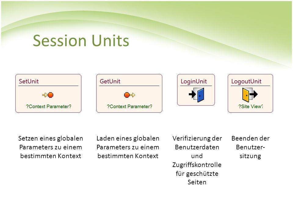 Session Units Setzen eines globalen Parameters zu einem bestimmten Kontext Laden eines globalen Parameters zu einem bestimmten Kontext Verifizierung d