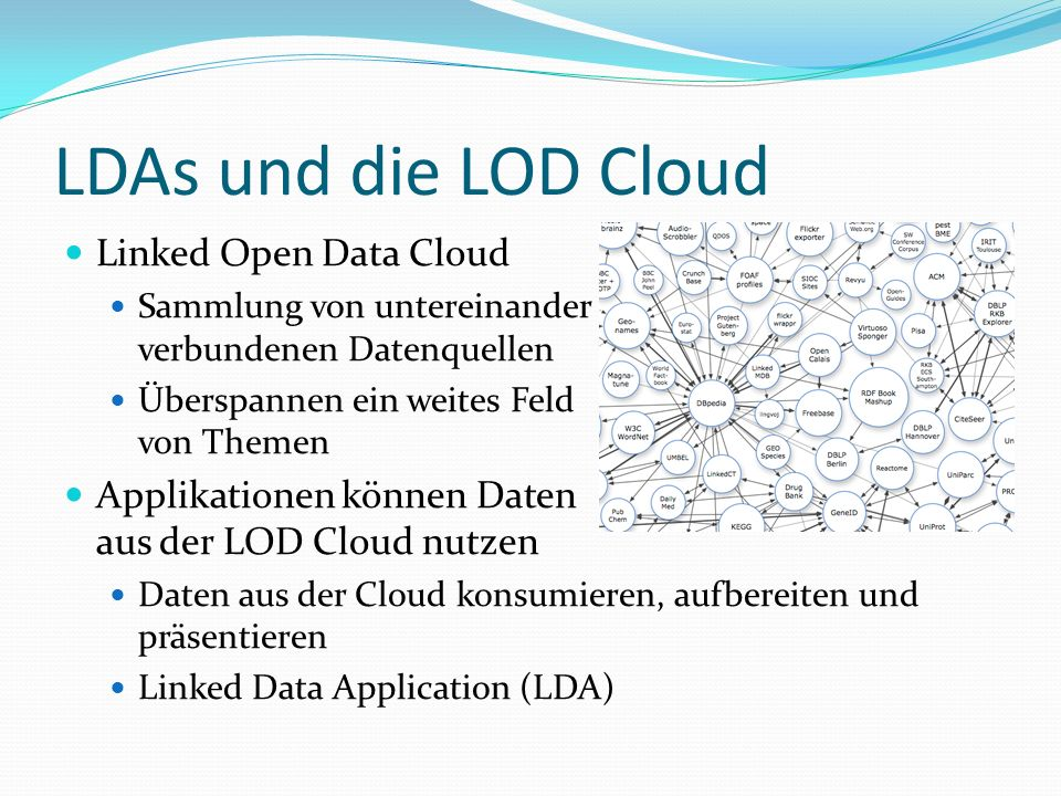 LDAs und die LOD Cloud Linked Open Data Cloud Sammlung von untereinander verbundenen Datenquellen Überspannen ein weites Feld von Themen Applikationen können Daten aus der LOD Cloud nutzen Daten aus der Cloud konsumieren, aufbereiten und präsentieren Linked Data Application (LDA)