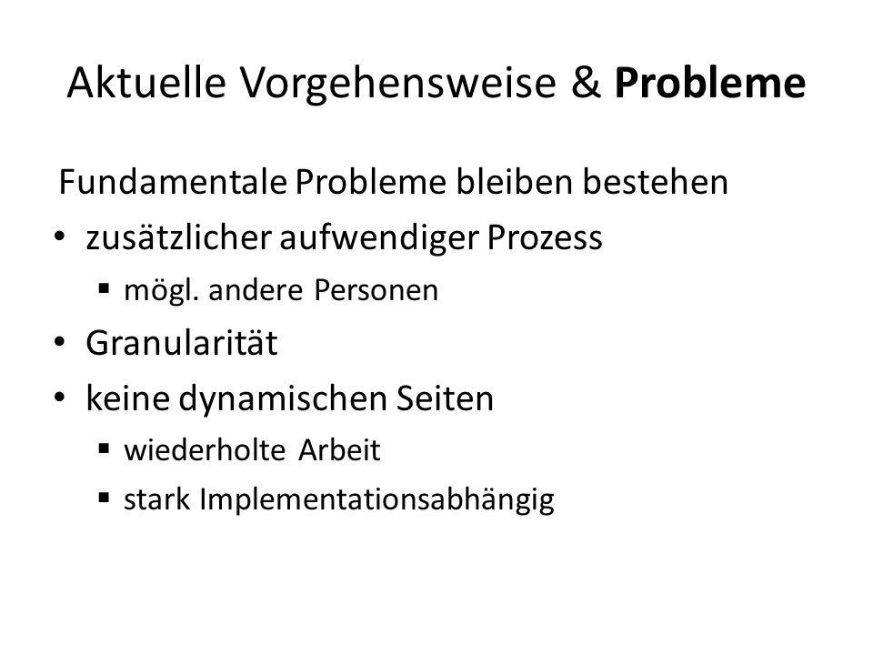 Aktuelle Vorgehensweise & Probleme Fundamentale Probleme bleiben bestehen zusätzlicher aufwendiger Prozess mögl.