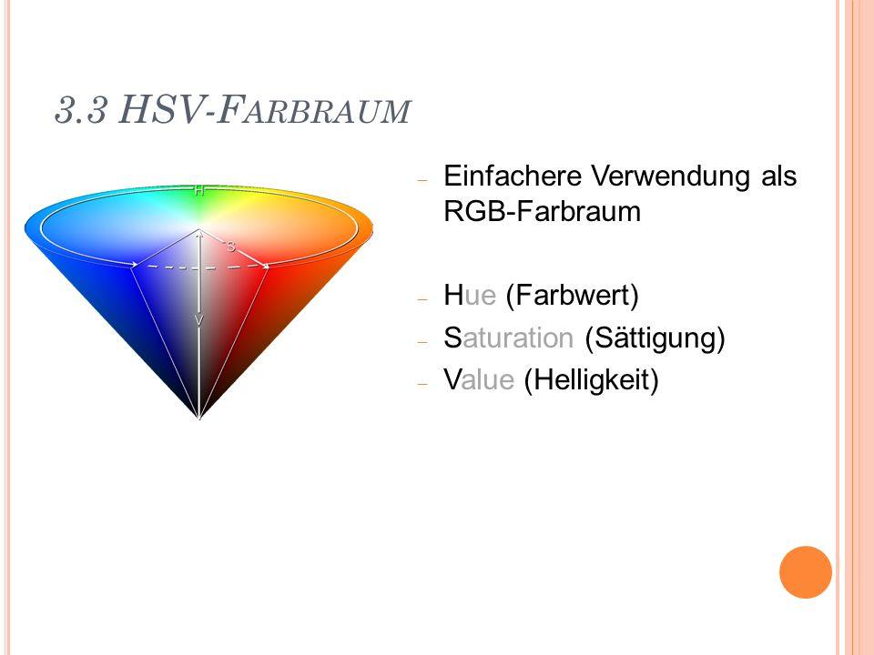 3.3 HSV-F ARBRAUM Einfachere Verwendung als RGB-Farbraum Hue (Farbwert) Saturation (Sättigung) Value (Helligkeit)