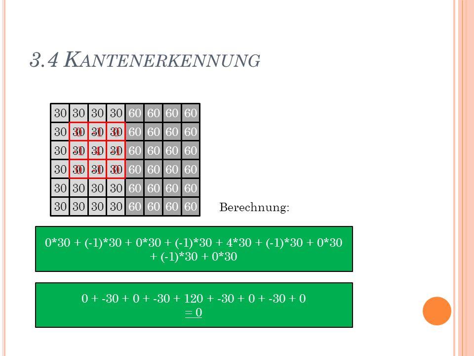 3.4 K ANTENERKENNUNG 30 60 30 60 30 60 30 60 30 60 30 60 3000 400 Berechnung: 0*30 + (-1)*30 + 0*30 + (-1)*30 + 4*30 + (-1)*30 + 0*30 + (-1)*30 + 0*30