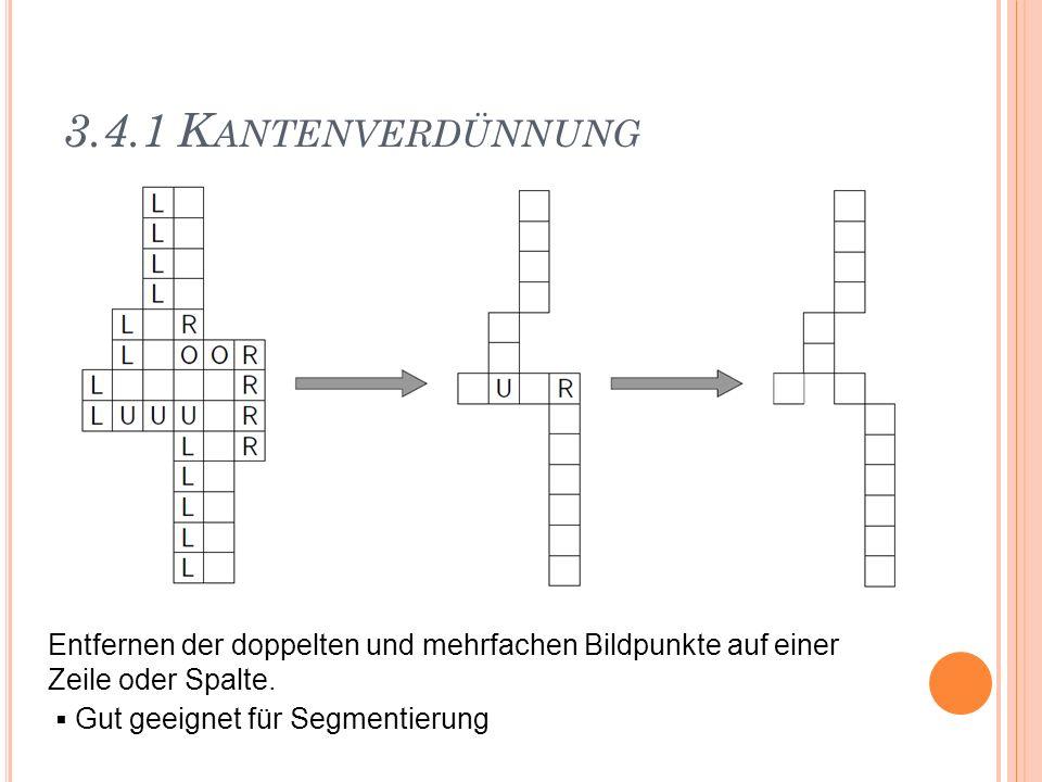 3.4.1 K ANTENVERDÜNNUNG Entfernen der doppelten und mehrfachen Bildpunkte auf einer Zeile oder Spalte. Gut geeignet für Segmentierung