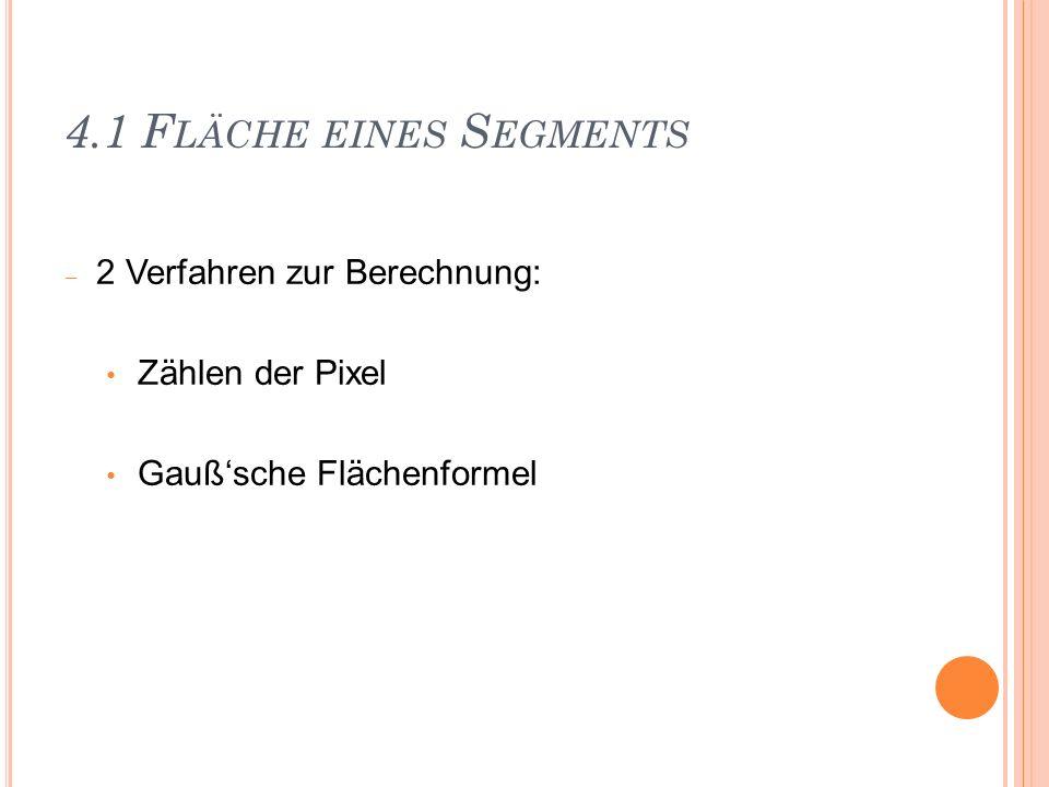 4.1 F LÄCHE EINES S EGMENTS 2 Verfahren zur Berechnung: Zählen der Pixel Gaußsche Flächenformel