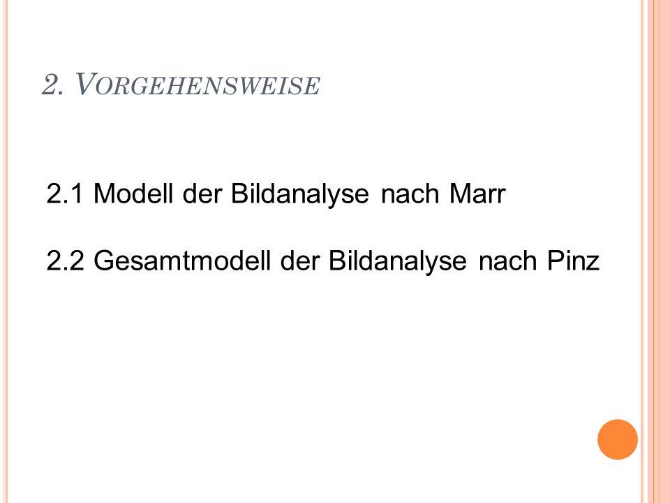 2. V ORGEHENSWEISE 2.1 Modell der Bildanalyse nach Marr 2.2 Gesamtmodell der Bildanalyse nach Pinz
