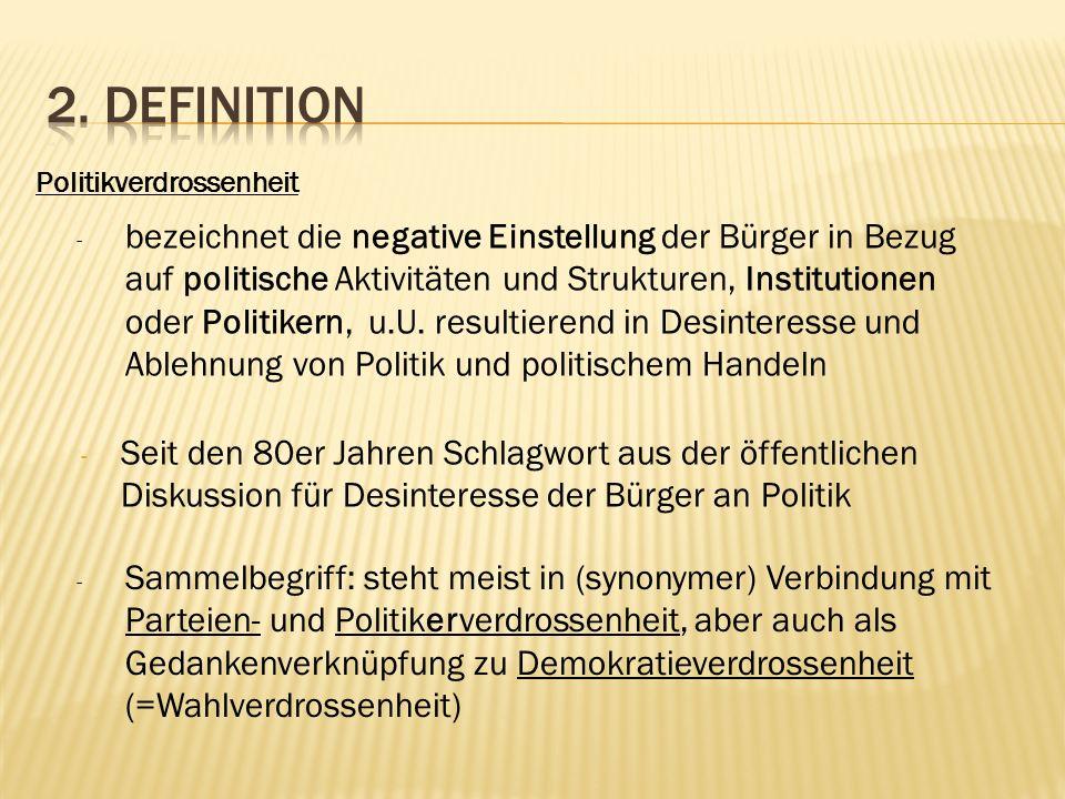1. Sinkende Wahlbeteiligungen bei Bundestags- Landtags- und Kommunalwahlen 2. Rückgang der Mitgliederzahlen in politischen Organisationen, vor allem P