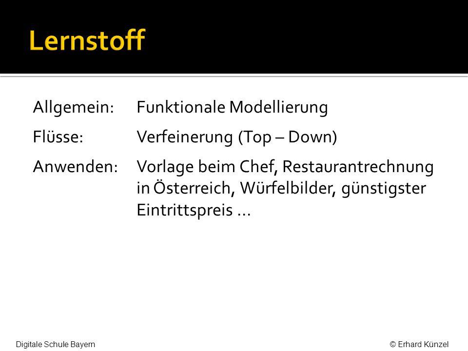 Allgemein: Funktionale Modellierung Flüsse:Verfeinerung (Top – Down) Anwenden:Vorlage beim Chef, Restaurantrechnung in Österreich, Würfelbilder, günst