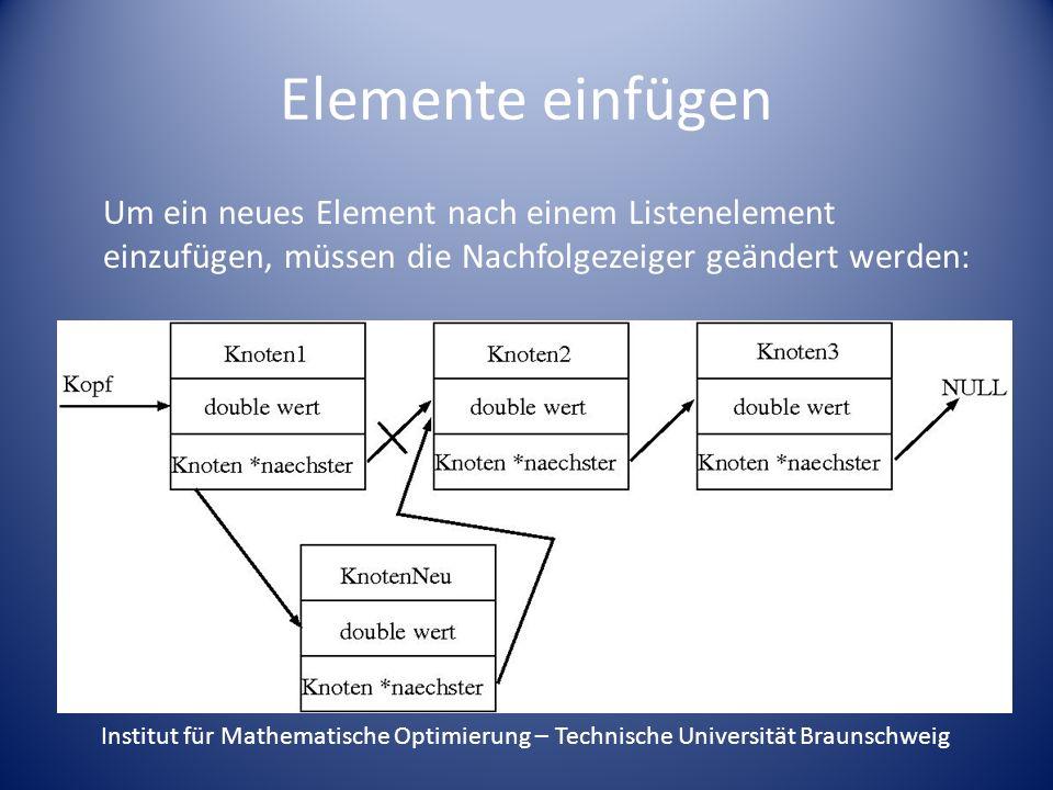 Elemente einfügen Um ein neues Element nach einem Listenelement einzufügen, müssen die Nachfolgezeiger geändert werden: Institut für Mathematische Opt