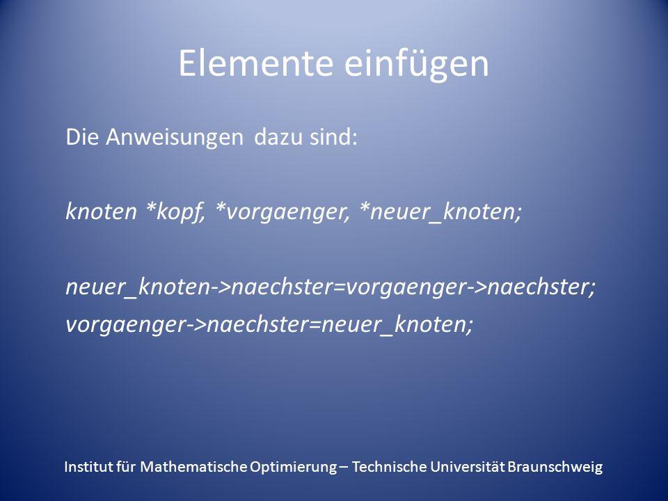 Elemente einfügen Die Anweisungen dazu sind: knoten *kopf, *vorgaenger, *neuer_knoten; neuer_knoten->naechster=vorgaenger->naechster; vorgaenger->naec