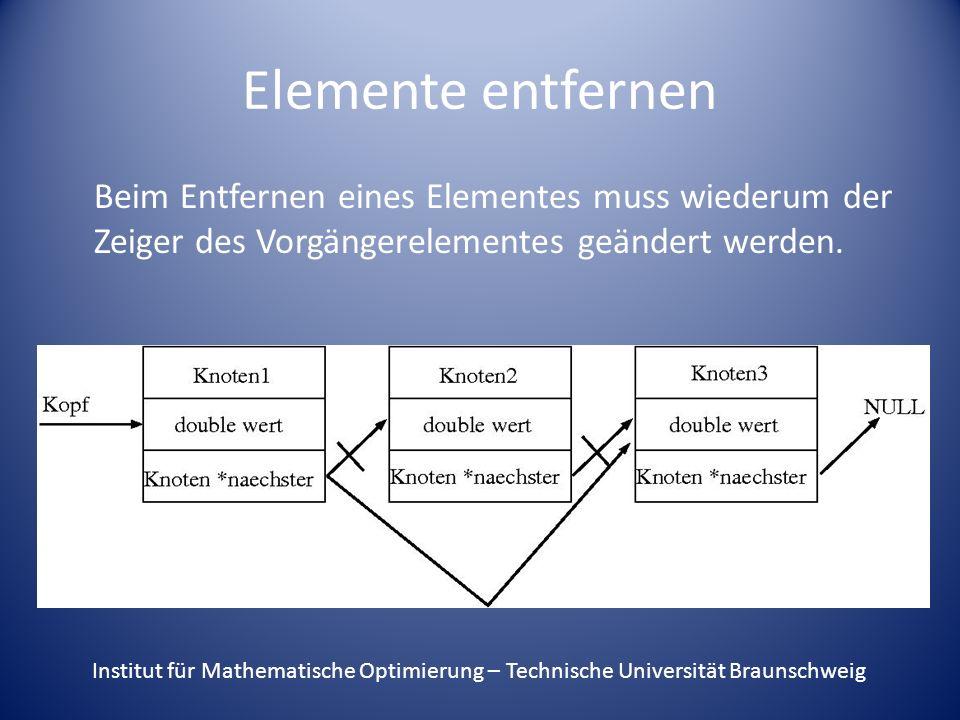 Elemente entfernen Beim Entfernen eines Elementes muss wiederum der Zeiger des Vorgängerelementes geändert werden. Institut für Mathematische Optimier