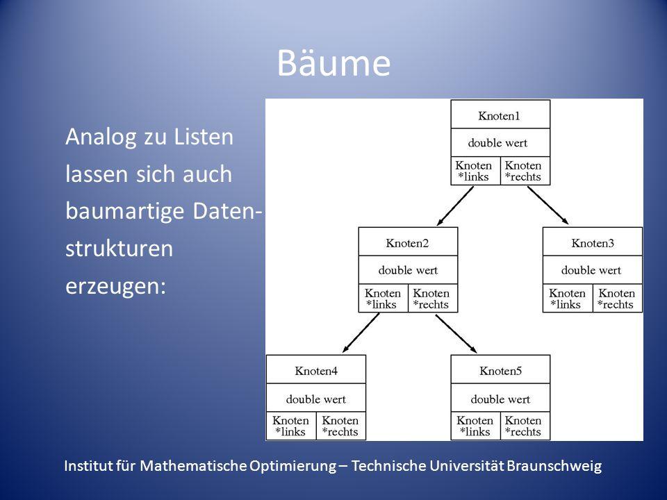 Bäume Analog zu Listen lassen sich auch baumartige Daten- strukturen erzeugen: Institut für Mathematische Optimierung – Technische Universität Braunsc