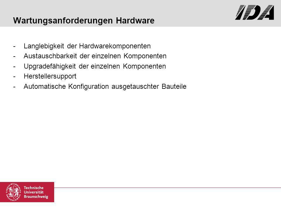 Wartungsanforderungen Hardware -Langlebigkeit der Hardwarekomponenten -Austauschbarkeit der einzelnen Komponenten -Upgradefähigkeit der einzelnen Komponenten -Herstellersupport -Automatische Konfiguration ausgetauschter Bauteile