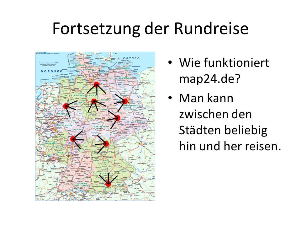 Wie funktioniert map24.de? Man kann zwischen den Städten beliebig hin und her reisen.