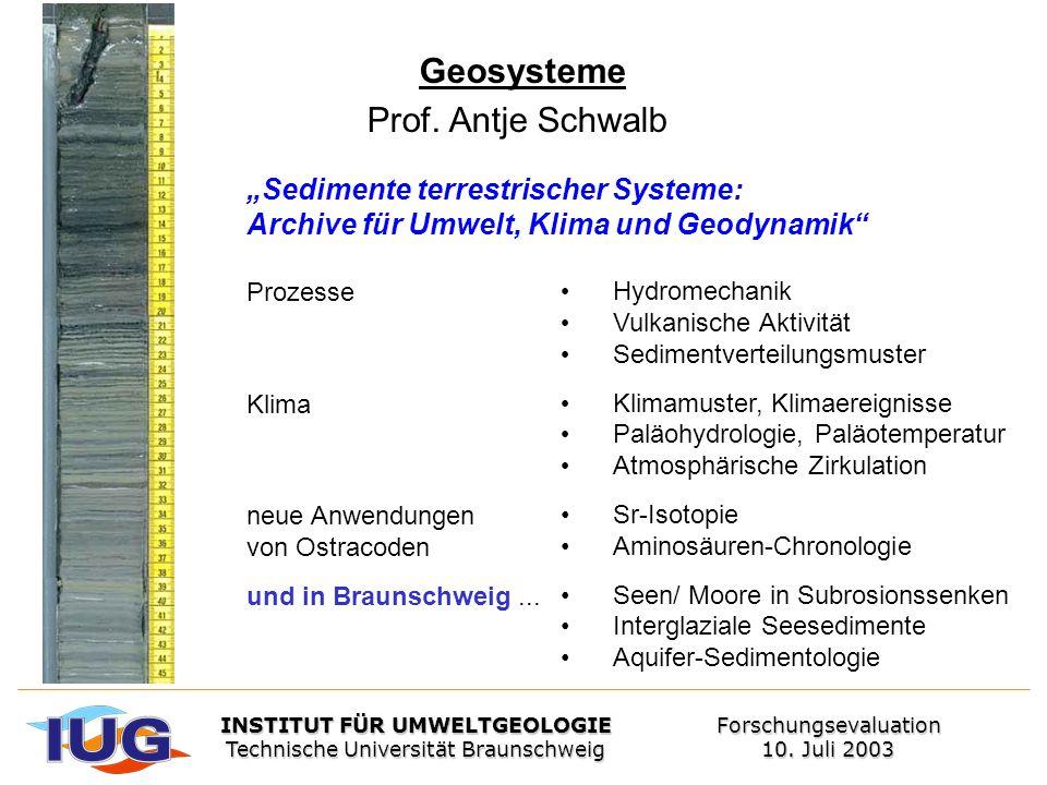 Geosysteme Prof. Antje Schwalb Sedimente terrestrischer Systeme: Archive für Umwelt, Klima und Geodynamik Prozesse Klima neue Anwendungen von Ostracod