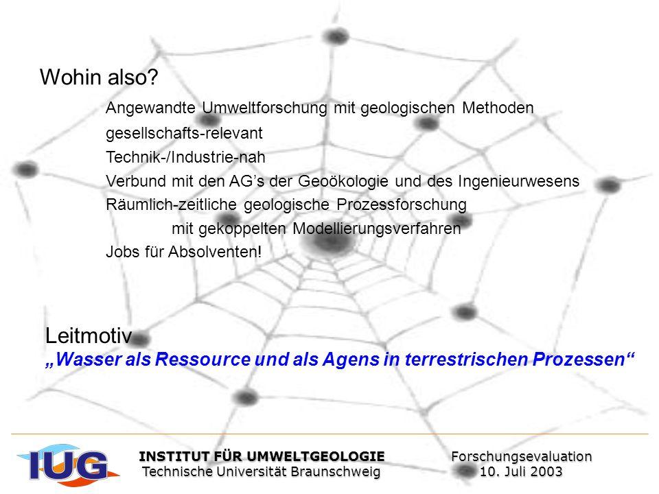 Wohin also? Angewandte Umweltforschung mit geologischen Methoden gesellschafts-relevant Technik-/Industrie-nah Verbund mit den AGs der Geoökologie und