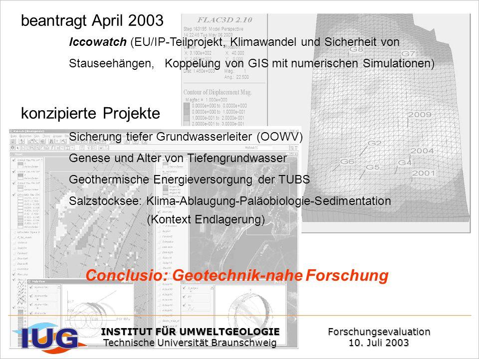 beantragt April 2003 Iccowatch (EU/IP-Teilprojekt, Klimawandel und Sicherheit von Stauseehängen, Koppelung von GIS mit numerischen Simulationen) konzi