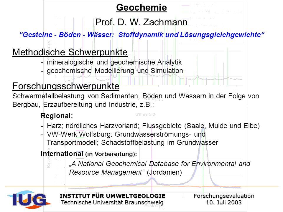 Methodische Schwerpunkte - mineralogische und geochemische Analytik - geochemische Modellierung und Simulation Forschungsschwerpunkte Schwermetallbela