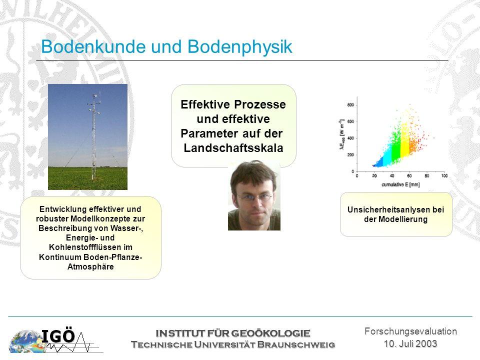 Bodenkunde und Bodenphysik INSTITUT FÜR GEOÖKOLOGIE Technische Universität Braunschweig Forschungsevaluation 10. Juli 2003 Effektive Prozesse und effe