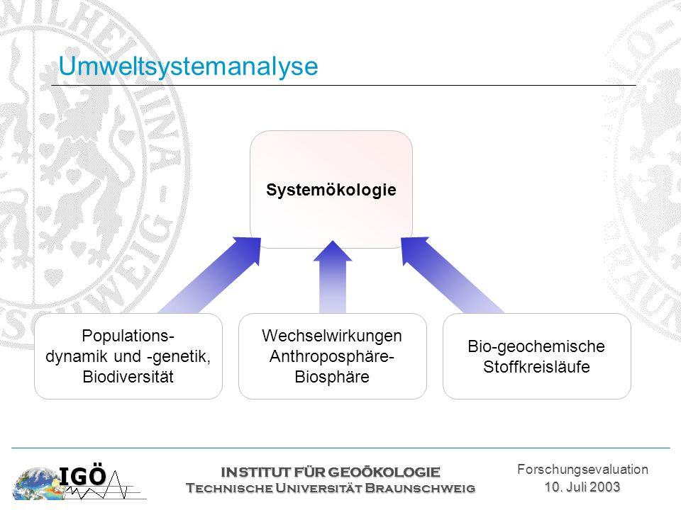 Systemökologie Umweltsystemanalyse INSTITUT FÜR GEOÖKOLOGIE Technische Universität Braunschweig Forschungsevaluation 10. Juli 2003 Wechselwirkungen An