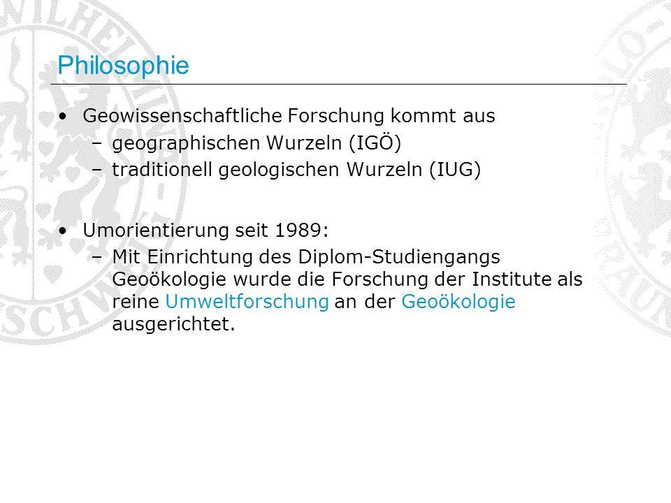 Philosophie Geowissenschaftliche Forschung kommt aus –geographischen Wurzeln (IGÖ) –traditionell geologischen Wurzeln (IUG) Umorientierung seit 1989: