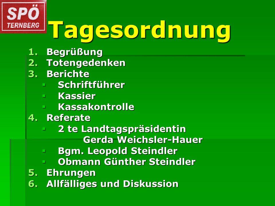 Tagesordnung 1.Begrüßung 2.Totengedenken 3.Berichte Schriftführer Schriftführer Kassier Kassier Kassakontrolle Kassakontrolle 4.Referate 2 te Landtags
