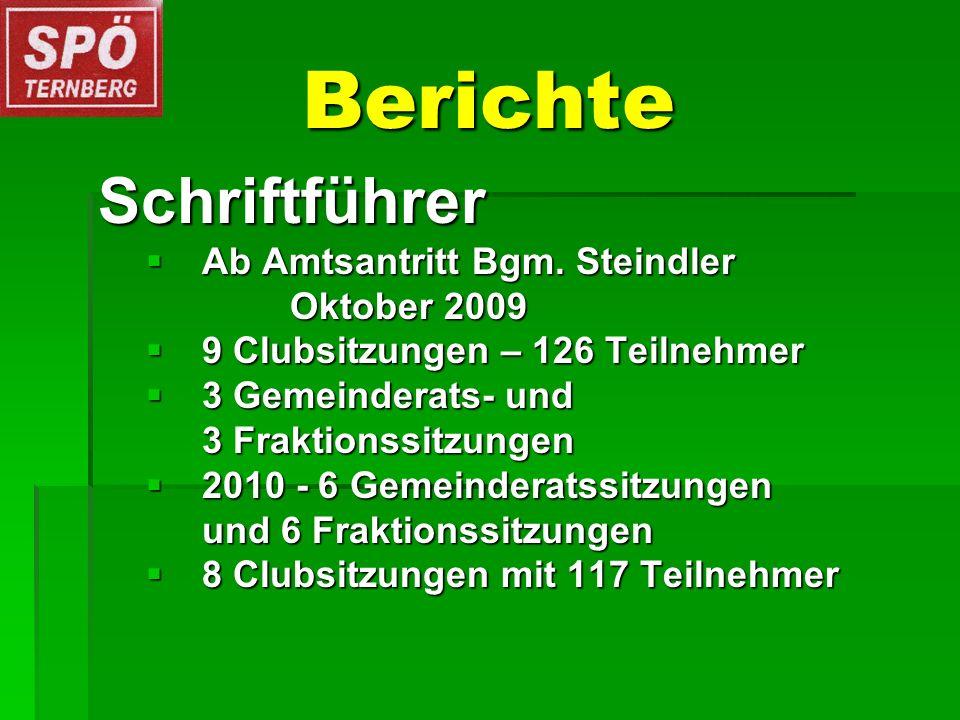Berichte Schriftführer Ab Amtsantritt Bgm. Steindler Ab Amtsantritt Bgm. Steindler Oktober 2009 9 Clubsitzungen – 126 Teilnehmer 9 Clubsitzungen – 126