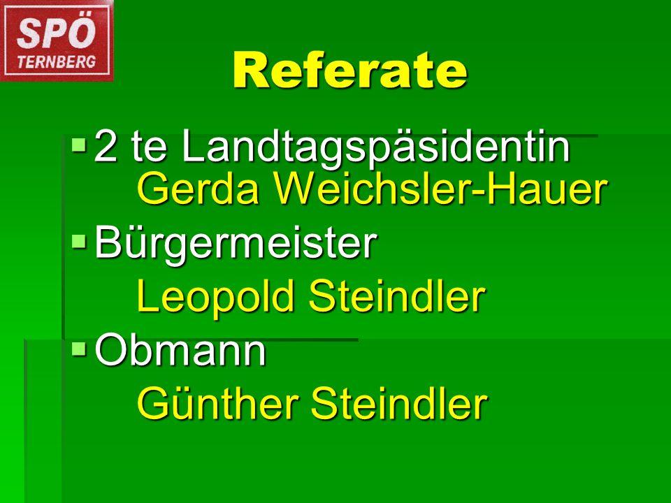 Referate Referate 2 te Landtagspäsidentin Gerda Weichsler-Hauer 2 te Landtagspäsidentin Gerda Weichsler-Hauer Bürgermeister Bürgermeister Leopold Steindler Obmann Obmann Günther Steindler