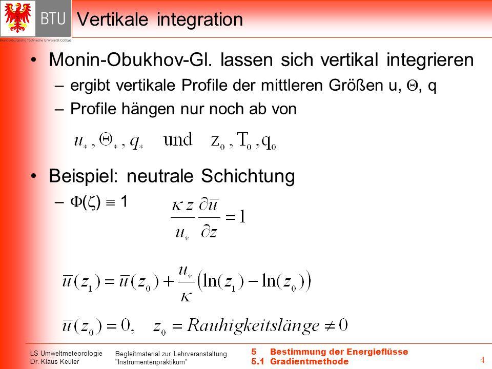 LS Umweltmeteorologie Dr. Klaus Keuler Begleitmaterial zur Lehrveranstaltung