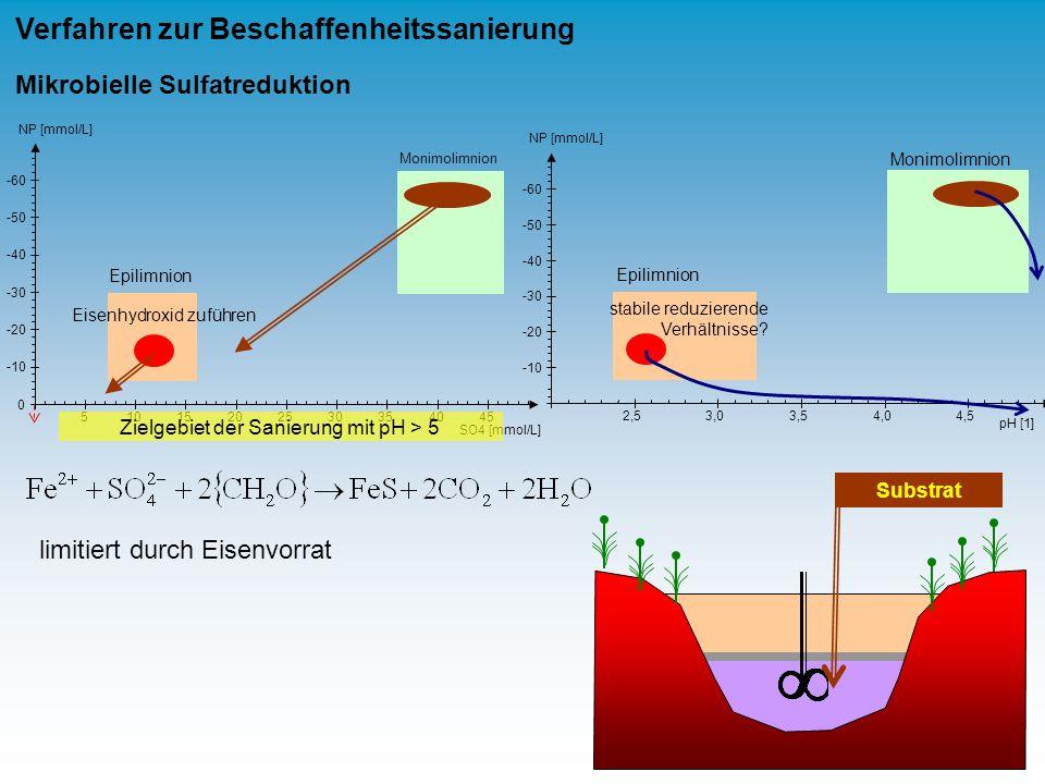 Monimolimnion Epilimnion -60 -50 -40 -30 -20 -10 NP [mmol/L] 0 51015202530354045 SO4 [mmol/L] Monimolimnion Epilimnion 2,53,03,54,04,5 pH [1] -60 -50