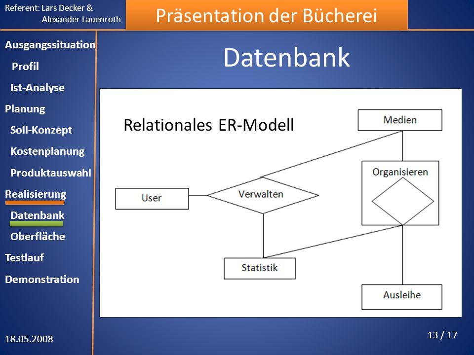 Referent: Lars Decker & Alexander Lauenroth Präsentation der Bücherei Datenbank 18.05.2008 13 / 17 Ausgangssituation Profil Ist-Analyse Planung Soll-K