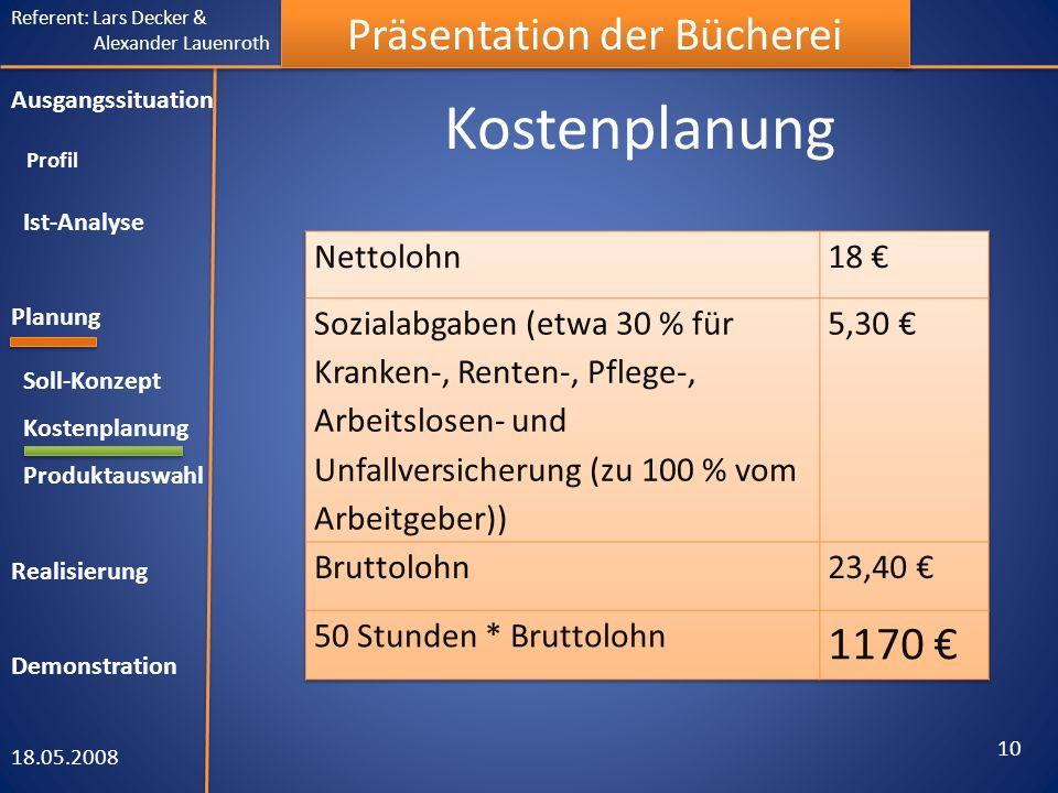 Referent: Lars Decker & Alexander Lauenroth Präsentation der Bücherei Kostenplanung 18.05.2008 10 Ausgangssituation Profil Ist-Analyse Planung Soll-Ko
