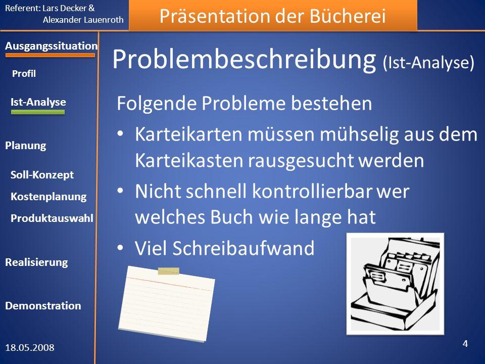 Referent: Lars Decker & Alexander Lauenroth Präsentation der Bücherei Problembeschreibung (Ist-Analyse) Folgende Probleme bestehen Karteikarten müssen