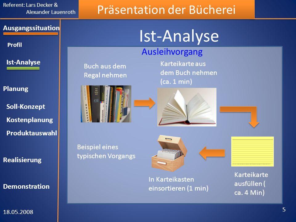 Referent: Lars Decker & Alexander Lauenroth Präsentation der Bücherei Ist-Analyse 18.05.2008 5 Ausgangssituation Profil Ist-Analyse Planung Soll-Konze