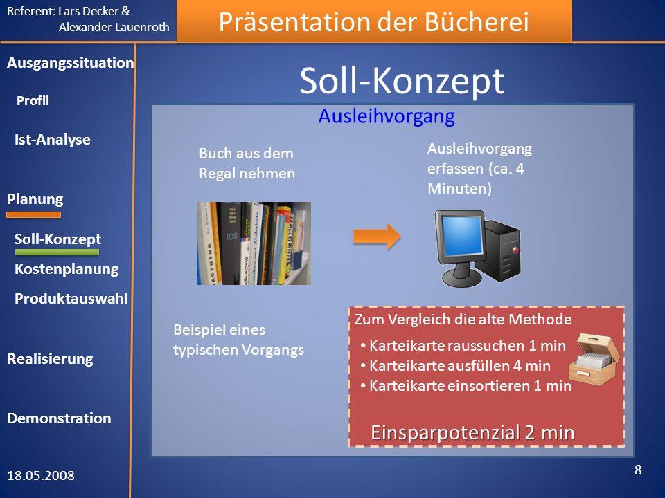 Referent: Lars Decker & Alexander Lauenroth Präsentation der Bücherei Soll-Konzept 18.05.2008 8 Ausgangssituation Profil Ist-Analyse Planung Soll-Konz