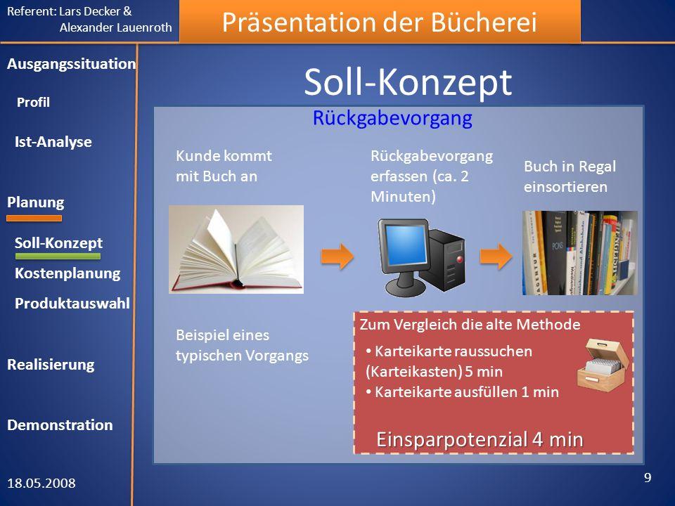 Referent: Lars Decker & Alexander Lauenroth Präsentation der Bücherei Kostenplanung 18.05.2008 10 Ausgangssituation Profil Ist-Analyse Planung Soll-Konzept Kostenplanung Produktauswahl Realisierung Demonstration