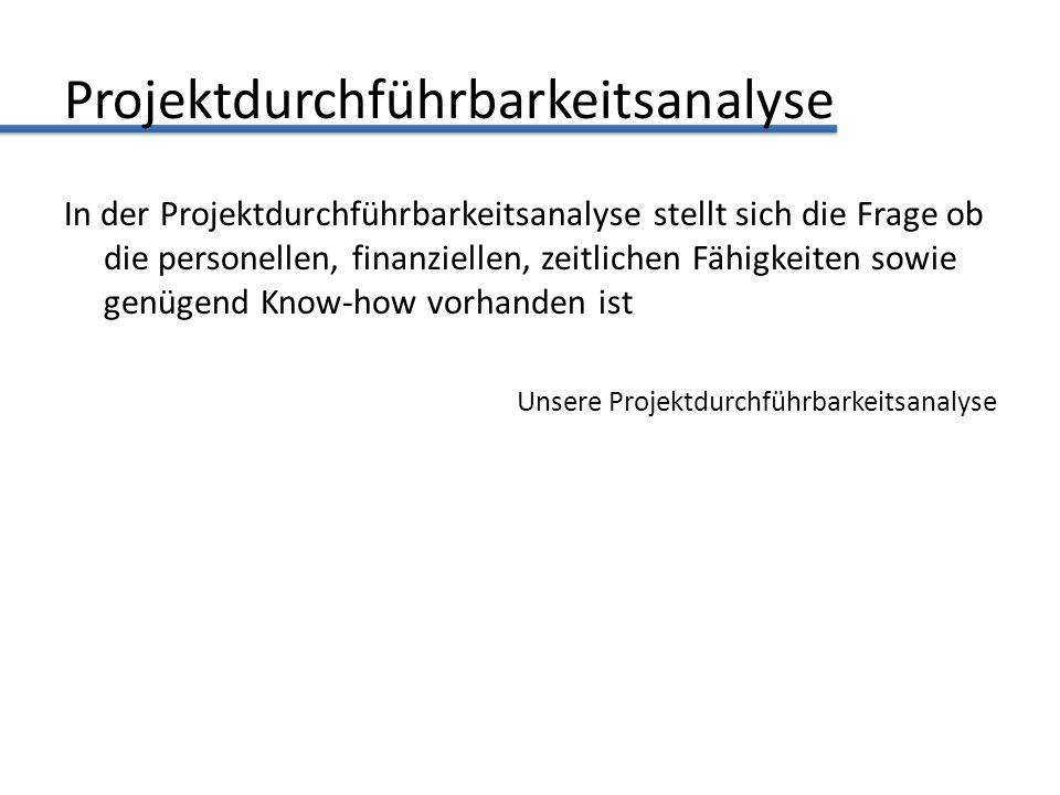 Projektdurchführbarkeitsanalyse In der Projektdurchführbarkeitsanalyse stellt sich die Frage ob die personellen, finanziellen, zeitlichen Fähigkeiten