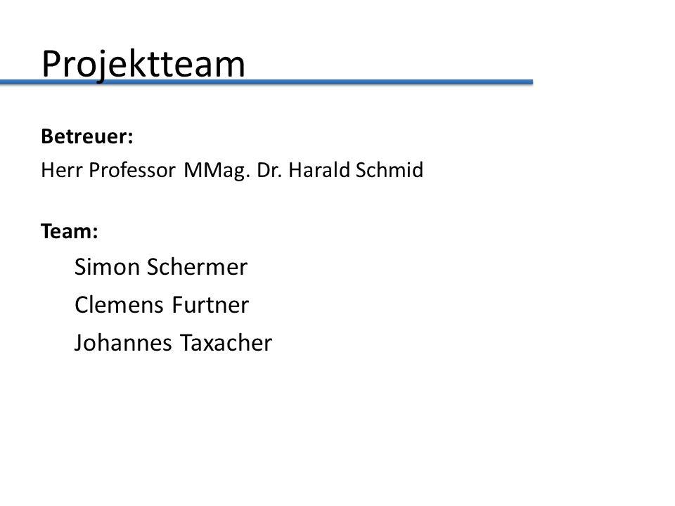 Projektteam Betreuer: Herr Professor MMag. Dr. Harald Schmid Team: Simon Schermer Clemens Furtner Johannes Taxacher