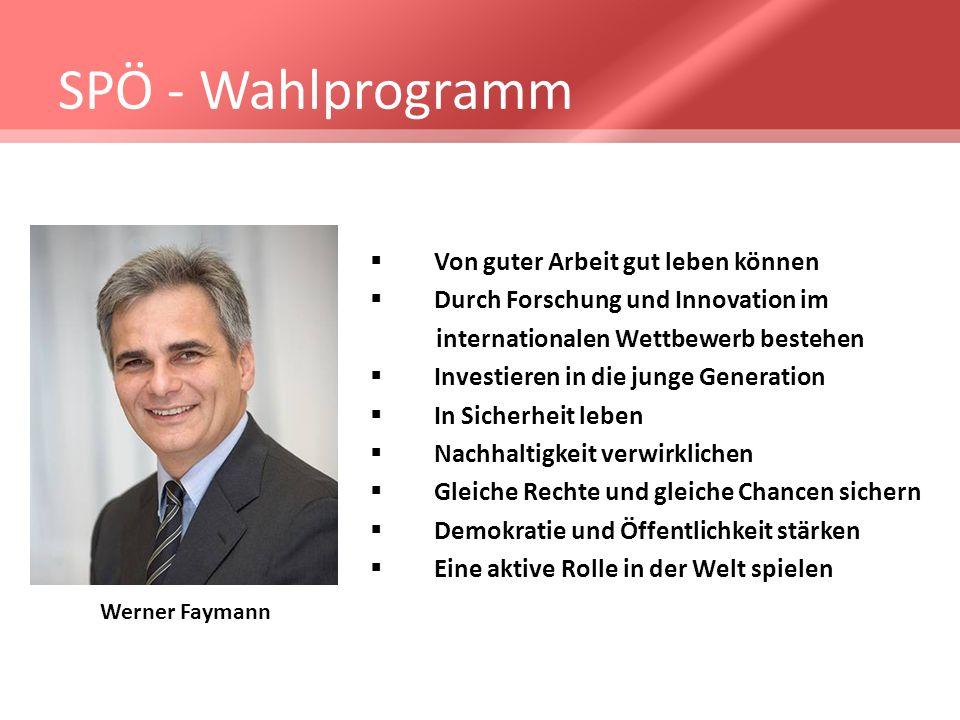 SPÖ - Wahlprogramm Von guter Arbeit gut leben können Durch Forschung und Innovation im internationalen Wettbewerb bestehen Investieren in die junge Ge