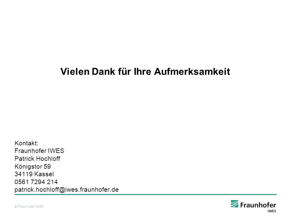 © Fraunhofer IWES Vielen Dank für Ihre Aufmerksamkeit Kontakt: Fraunhofer IWES Patrick Hochloff Königstor 59 34119 Kassel 0561 7294 214 patrick.hochlo