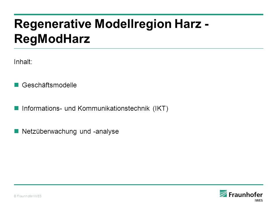© Fraunhofer IWES Regenerative Modellregion Harz - RegModHarz Inhalt: Geschäftsmodelle Informations- und Kommunikationstechnik (IKT) Netzüberwachung u