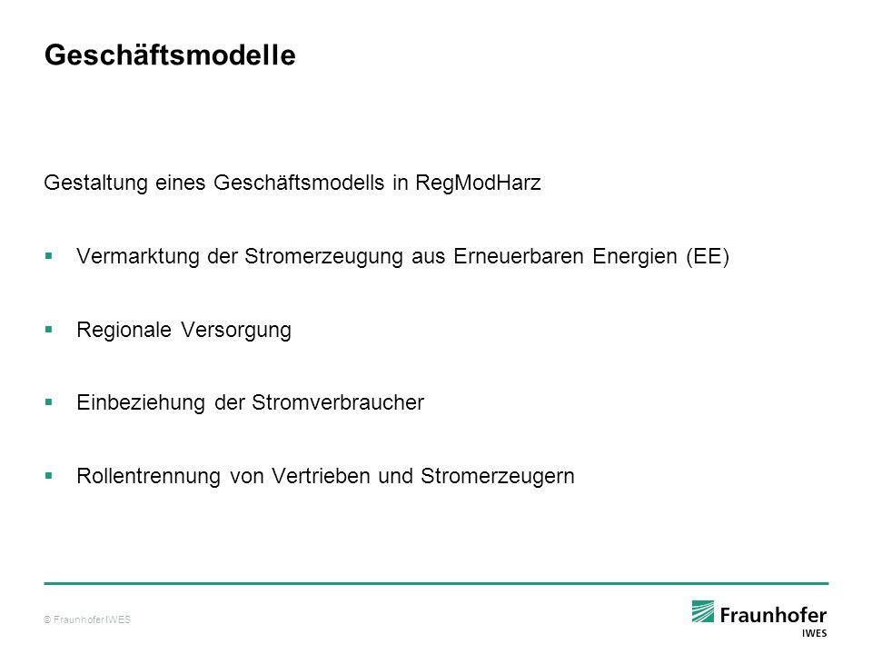 © Fraunhofer IWES Geschäftsmodelle Gestaltung eines Geschäftsmodells in RegModHarz Vermarktung der Stromerzeugung aus Erneuerbaren Energien (EE) Regio