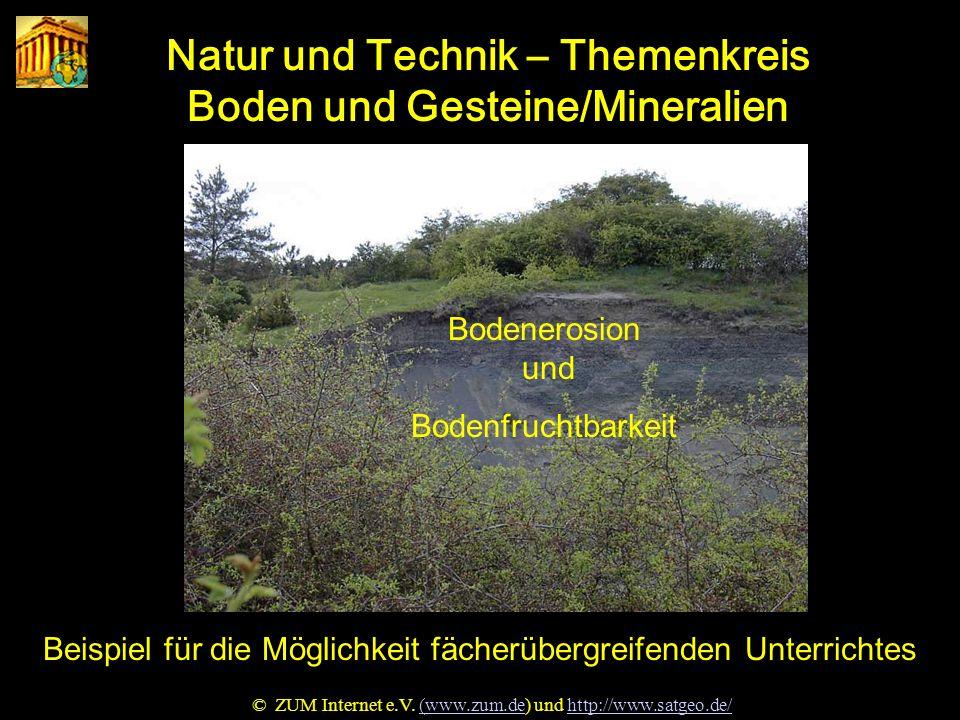 Natur u. Technik Natur und Technik – Themenkreis Boden und Gesteine/Mineralien Beispiel für die Möglichkeit fächerübergreifenden Unterrichtes © ZUM In
