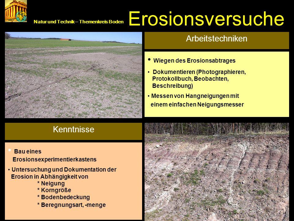 Kenntnisse/ Arbeitstechniken Natur und Technik – Themenkreis Boden Erosionsversuche Arbeitstechniken Wiegen des Erosionsabtrages Dokumentieren (Photog