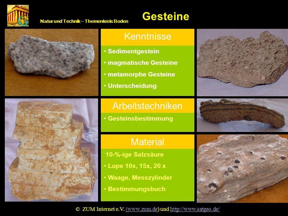 Natur und Technik – Themenkreis Boden Gesteine Gestein © ZUM Internet e.V. (www.zum.de) und http://www.satgeo.de/(www.zum.dehttp://www.satgeo.de/ Kenn