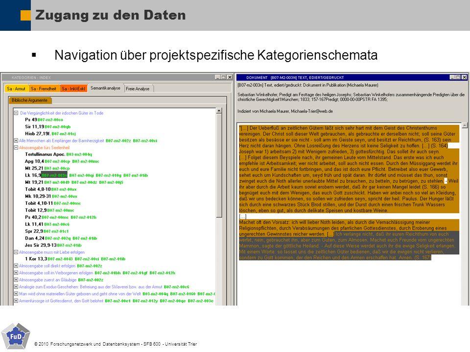 © 2010 Forschungsnetzwerk und Datenbanksystem - SFB 600 - Universität Trier Zugang zu den Daten Navigation über projektspezifische Kategorienschemata