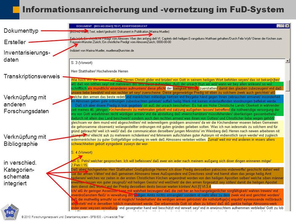© 2010 Forschungsnetzwerk und Datenbanksystem - SFB 600 - Universität Trier Informationsanreicherung und -vernetzung im FuD-System Dokumenttyp Inventa