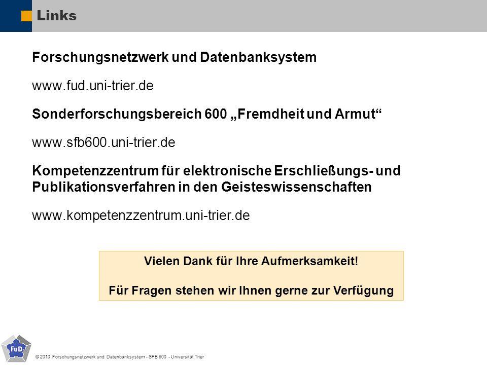 © 2010 Forschungsnetzwerk und Datenbanksystem - SFB 600 - Universität Trier Links Forschungsnetzwerk und Datenbanksystem www.fud.uni-trier.de Sonderfo