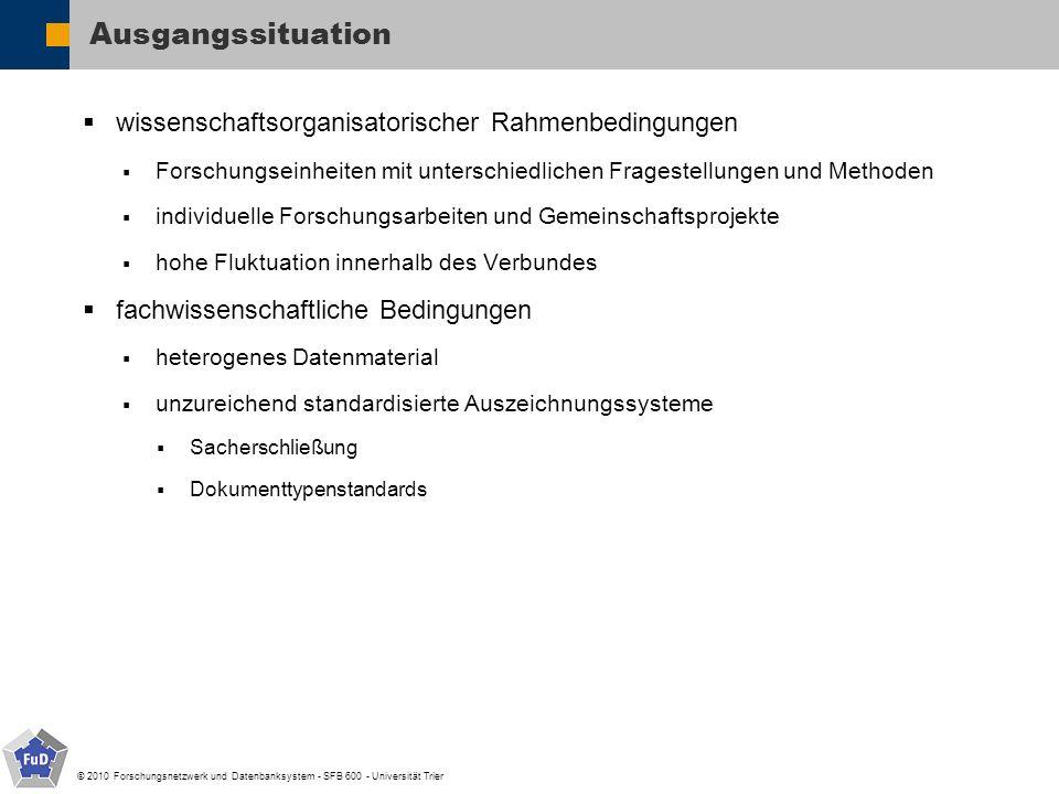 © 2010 Forschungsnetzwerk und Datenbanksystem - SFB 600 - Universität Trier Ausgangssituation wissenschaftsorganisatorischer Rahmenbedingungen Forschu