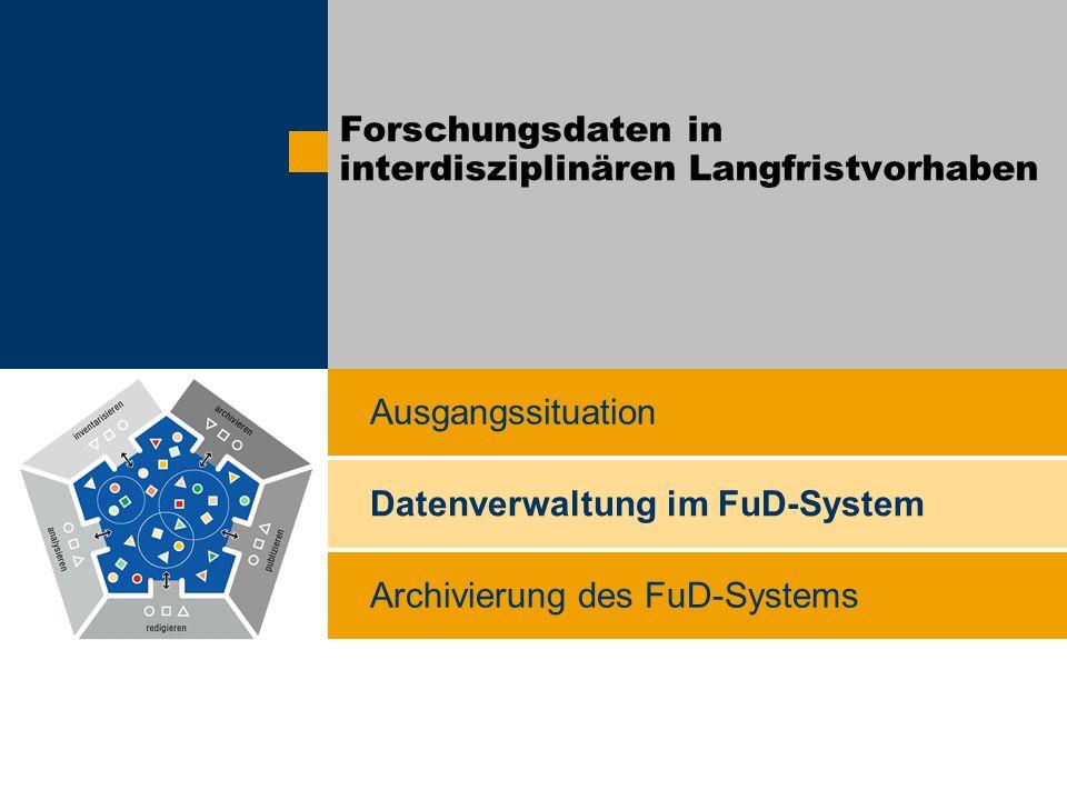 Archivierung des FuD-Systems Ausgangssituation Datenverwaltung im FuD-System Forschungsdaten in interdisziplinären Langfristvorhaben