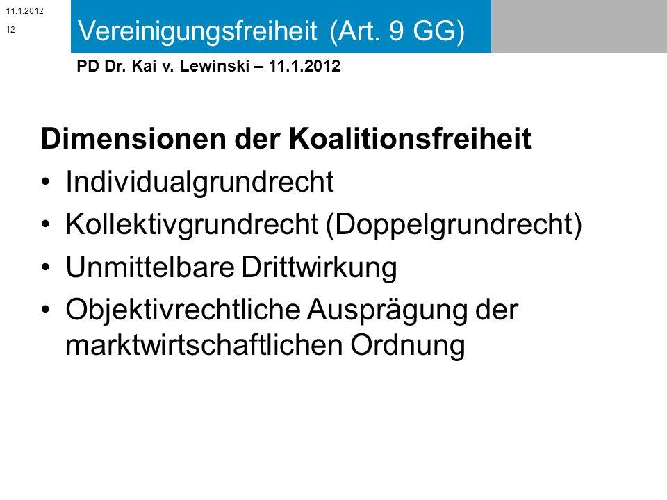 Vereinigungsfreiheit (Art. 9 GG) 11.1.2012 PD Dr. Kai v. Lewinski – 11.1.2012 Dimensionen der Koalitionsfreiheit Individualgrundrecht Kollektivgrundre
